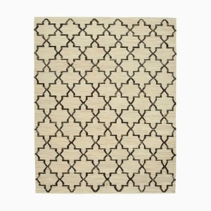 Beige Hand Knotted Turkish Wool Large Kilim Carpet
