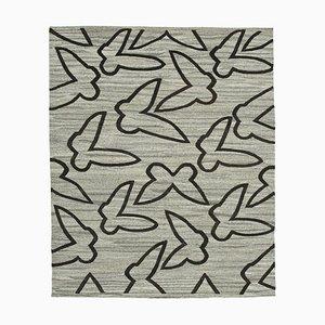Grey Handmade Decorative Wool Flatwave Kilim Carpet
