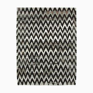 Grey Hand Knotted Geometric Wool Flatwave Kilim Carpet
