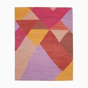 Multicolor Geometric Design Wool Flatwave Kilim Carpet