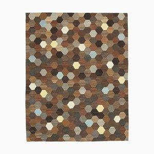 Vintage Brown Handmade Wool Flatweave Kilim Carpet