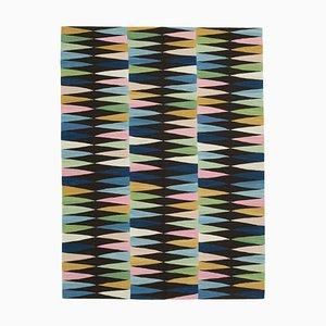 Black Handmade Anatolian Wool Flatwave Kilim Carpet