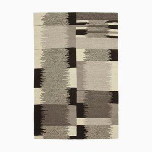 Vintage Black Handmade Wool Flatweave Kilim Carpet