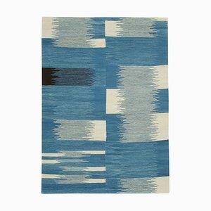 Blue Hand Knotted Turkish Wool Large Kilim Carpet
