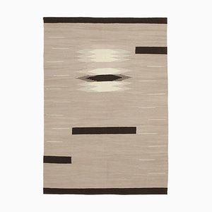 Handgewebter pinker Flatwave Kilim Teppich aus Wolle