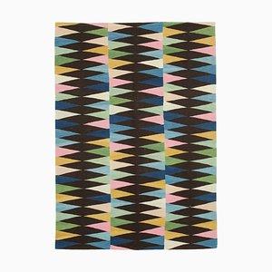 Schwarzer Handgeknüpfter Türkischer Flatwave Kilim Teppich aus Wolle