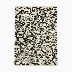 Vintage Beige Handmade Wool Flatweave Kilim Carpet