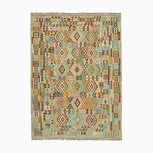 Vintage Multicolor Handmade Wool Flatweave Kilim Carpet