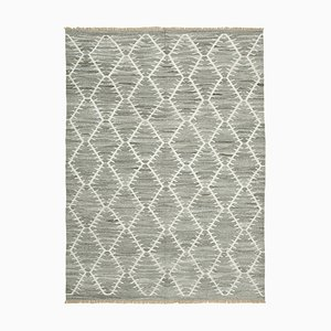 Grey Geometric Design Wool Flatwave Kilim Carpet