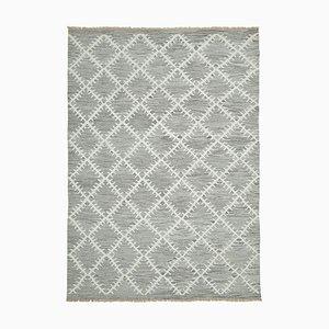 Grauer Handgeknüpfter Oriental Flawave Kilim Teppich aus Wolle