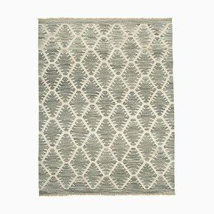 Vintage Grey Handmade Wool Flatweave Kilim Carpet