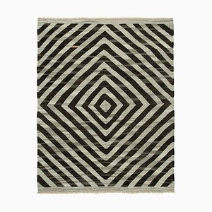 Grey Hand Knotted Geometric Wool Flatwave Kilim Carpet
