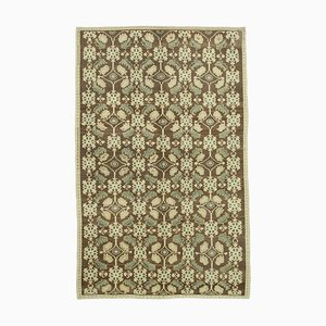 Beige Contemporary Hand Knotted Wool Tribal Vintage Carpet