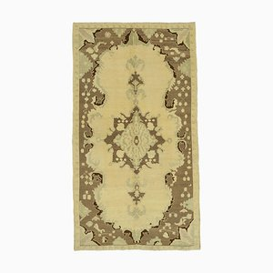 Beige Turkish Handmade Wool Tribal Vintage Carpet