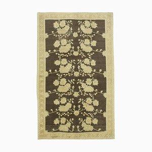 Beige Overdyed Handmade Wool Tribal Vintage Carpet