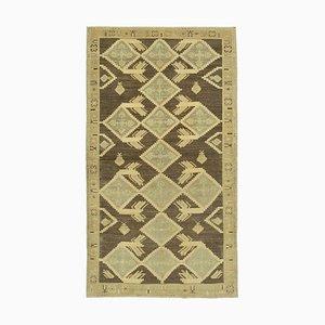 Beige Antique Handwoven Wool Tribal Vintage Carpet