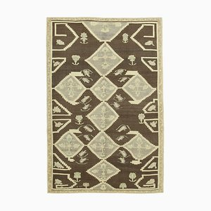 Beige Anatolian Hand Knotted Wool Tribal Vintage Carpet