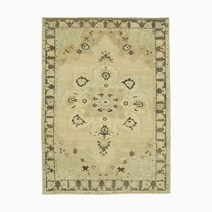 Beige Overdyed Handmade Antique Tribal Vintage Carpet