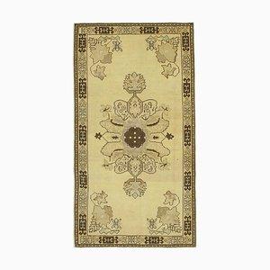 Beige Decorative Handmade Wool Tribal Vintage Carpet