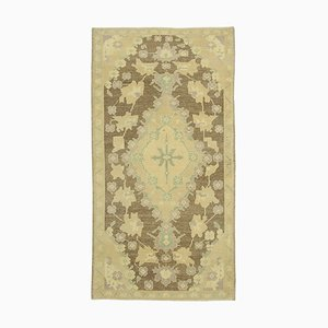 Beige Anatolian Hand Knotted Antique Tribal Vintage Carpet