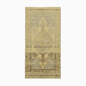 Beige Oriental Handwoven Wool Tribal Vintage Carpet