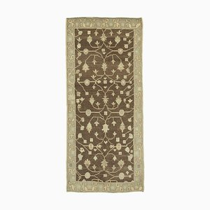 Beige Contemporary Hand Knotted Antique Tribal Vintage Carpet