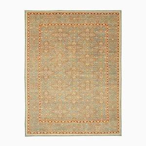 Green Turkish Hand Knotted Wool Oushak Carpet
