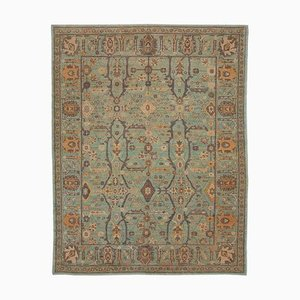 Green Turkish Handwoven Antique Oushak Carpet