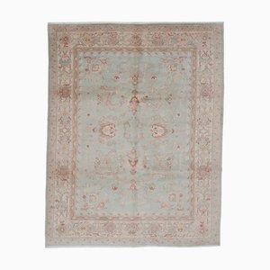 Green Anatolian Handwoven Antique Oushak Carpet