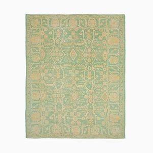 Turquoise Decorative Handmade Wool Oushak Carpet