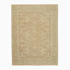 Brown Decorative Hand Knotted Wool Oushak Carpet