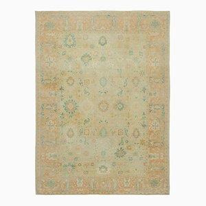 Beige Oriental Handmade Wool Oushak Carpet