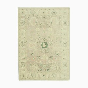 Beige Traditional Handmade Wool Oushak Carpet
