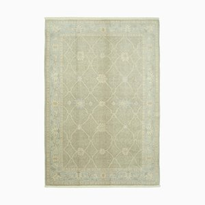 Brown Oriental Handmade Wool Oushak Carpet