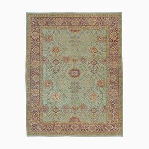 Green Traditional Handmade Wool Oushak Carpet