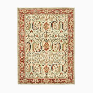 Red Antique Hand Knotted Wool Oushak Carpet