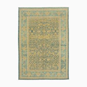 Blue Turkish Handwoven Antique Oushak Carpet