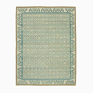 Beige Traditional Hand Knotted Wool Oushak Carpet