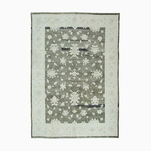 White Antique Hand Knotted Wool Oushak Carpet