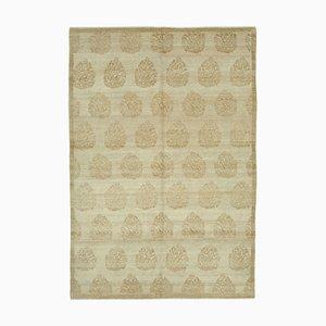 Beige Anatolian Handwoven Antique Oushak Carpet