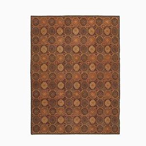 Brauner Handgeknüpfter Traditioneller Oushak Teppich aus Wolle