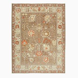 Brown Turkish Handwoven Antique Oushak Carpet