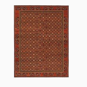 Red Turkish Handwoven Antique Oushak Carpet