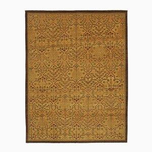 Orange Oriental Handwoven Antique Oushak Carpet