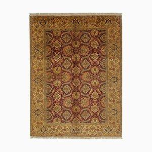 Yellow Anatolian Hand Knotted Wool Oushak Carpet