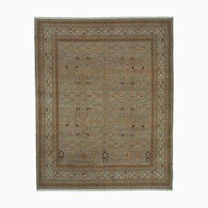 Beige Anatolian Hand Knotted Wool Oushak Carpet