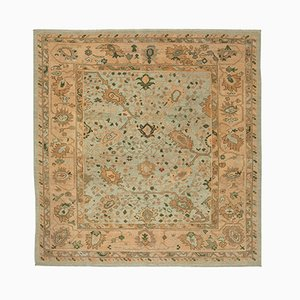 Green Oriental Hand Knotted Wool Oushak Carpet