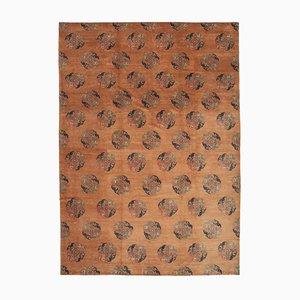 Orangenfarbener Orientalischer Handgewebter Antiker Oushak Teppich
