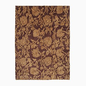 Purple Turkish Hand Knotted Wool Oushak Carpet