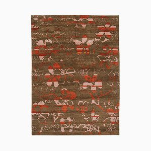 Brown Oriental Hand Knotted Wool Oushak Carpet